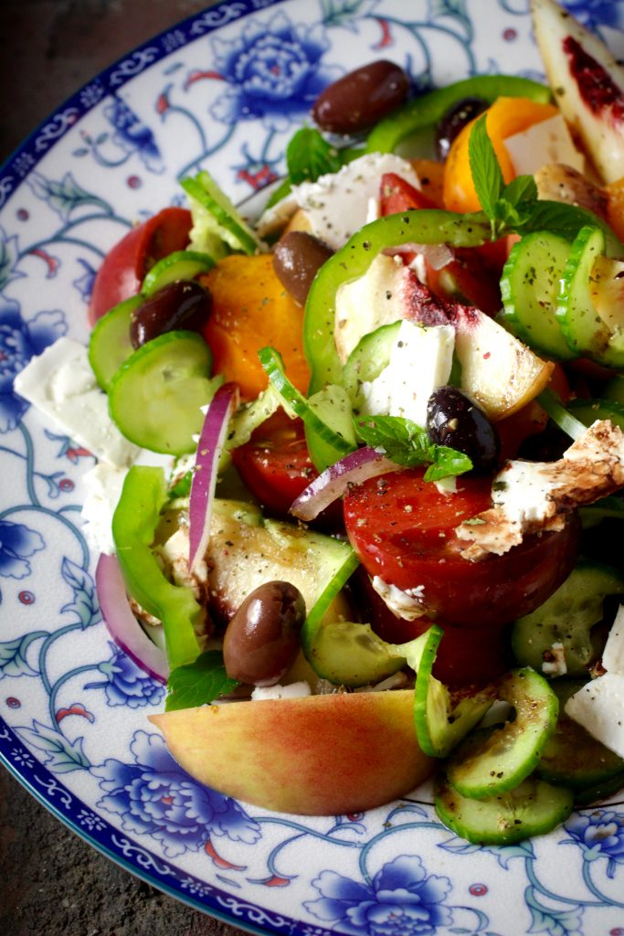 Try Adding Sweet Peaches to a Savory Greek Salad