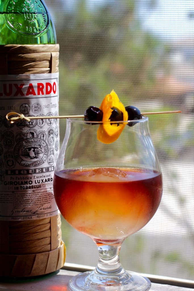 Manhattan Cocktail with a Luxardo Ice Sphere