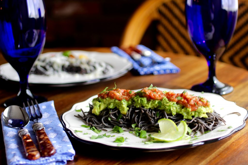 Black Bean Spaghetti For Adults with Fresh Tomato Salsa, Avocado Mash, Cilantro, Lime