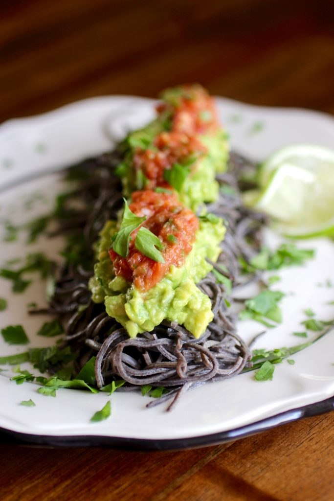 Black Bean Spaghetti Caterpillar with Fresh Tomato Salsa, Avocado, Cilantro, Lime