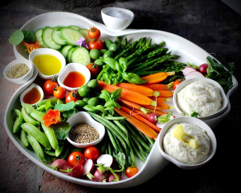 Crudités Platter with Lemony Cauliflower Dip, Three Oils, Three Seasonings