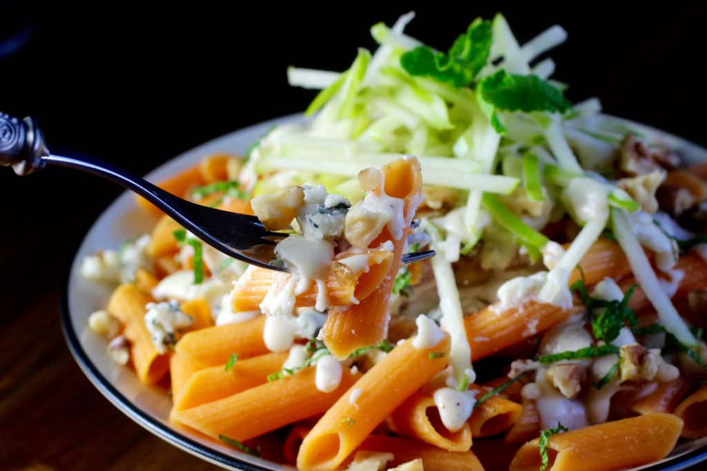 Red Lentil Penne with Gorgonzola Sauce, Walnut, Apple, Mint #glutenfree