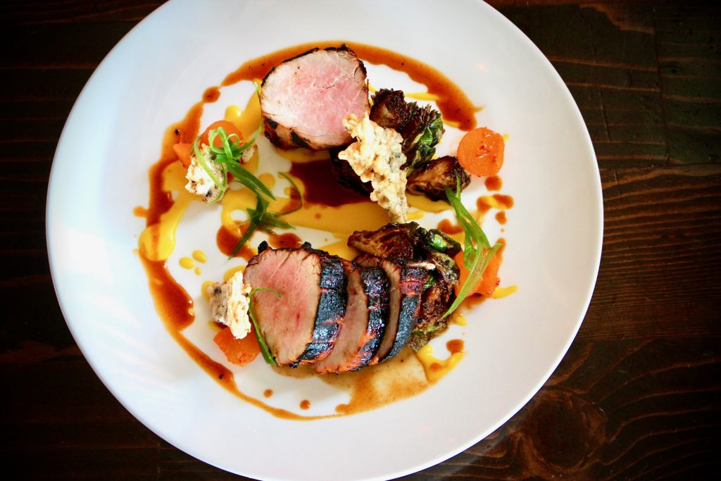 Grilled Korean Pork Loin – kimchi apple/squash puree/brussels sprout