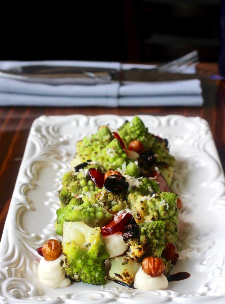 Grilled Romanesco Cauliflower Gooseberry/ horseradish/ sage