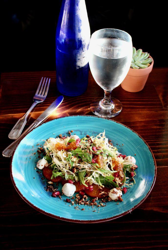 Maple Pecan Persimmon Salad - frisee/ rosemary ricotta/pomegranate