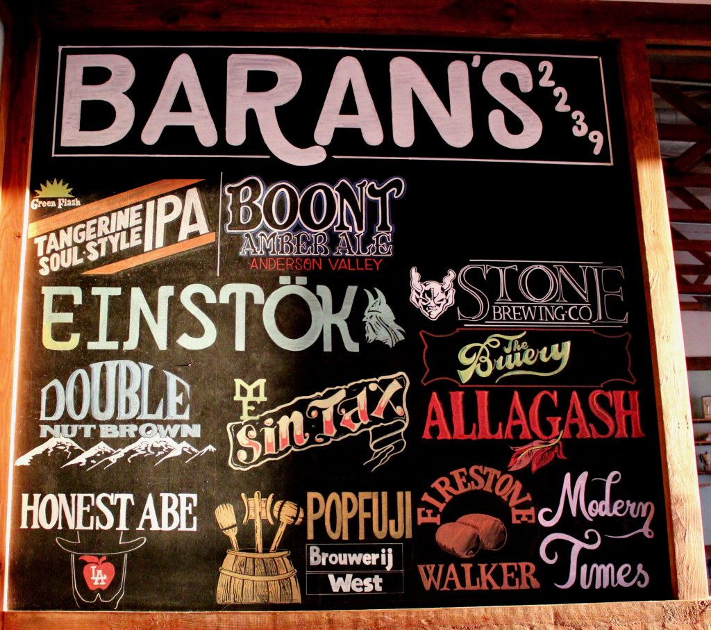 Craft Beer List -representing over 40 beers by the bottle and draft