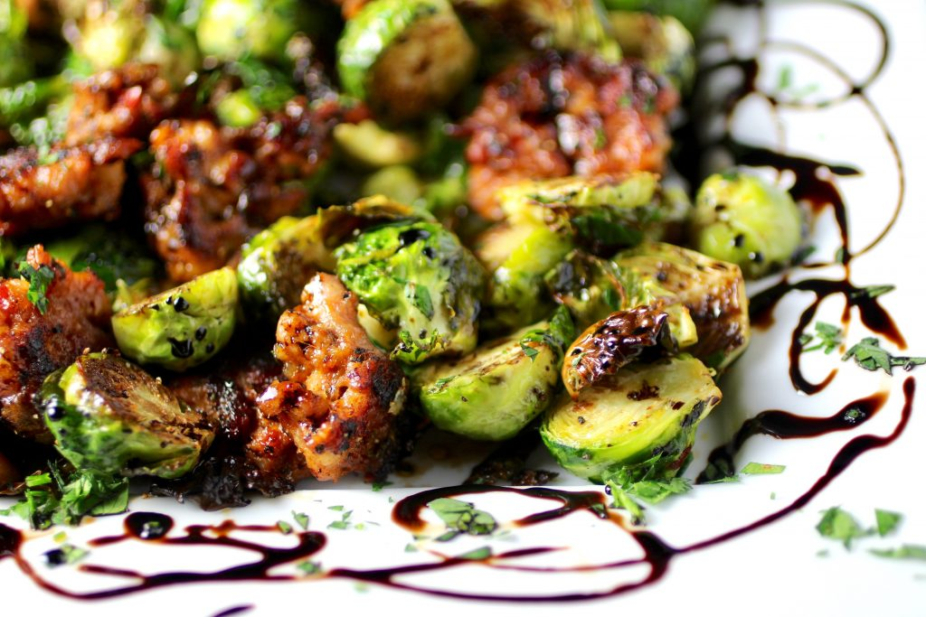 Roasted Brussels Sprouts, Italian Sausage, Balsamic Syrup