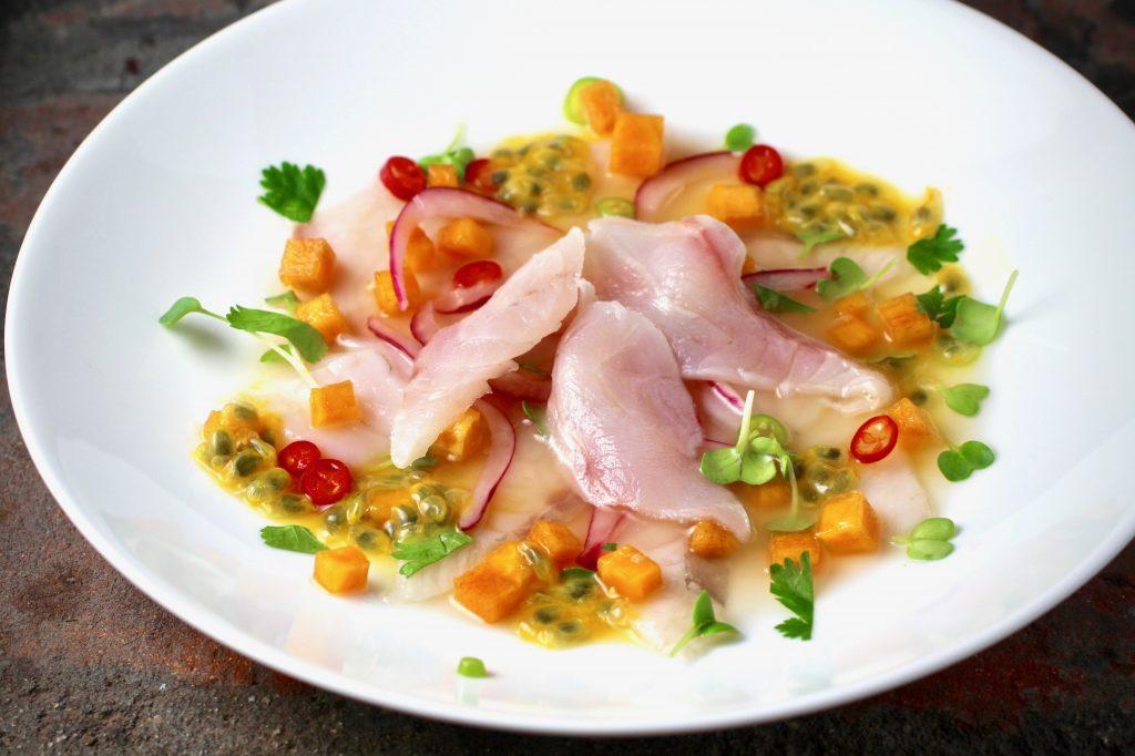 ~Striped Bass Ceviche~ Lime, Passion Fruit, Persimmon, Red Onion, Chile, Cilantro, Radish Sprouts