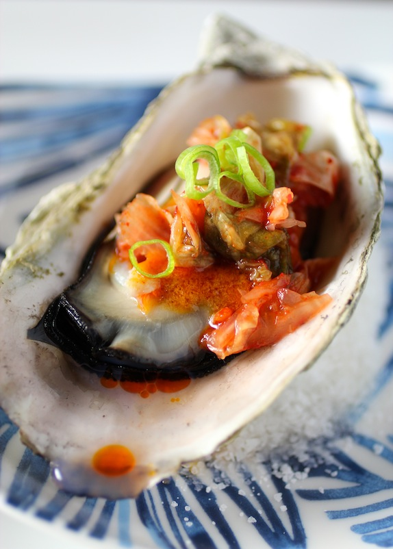 BBQ OYSTERS – KOREAN STYLE Gochujang Butter, Kimchi, Scallion