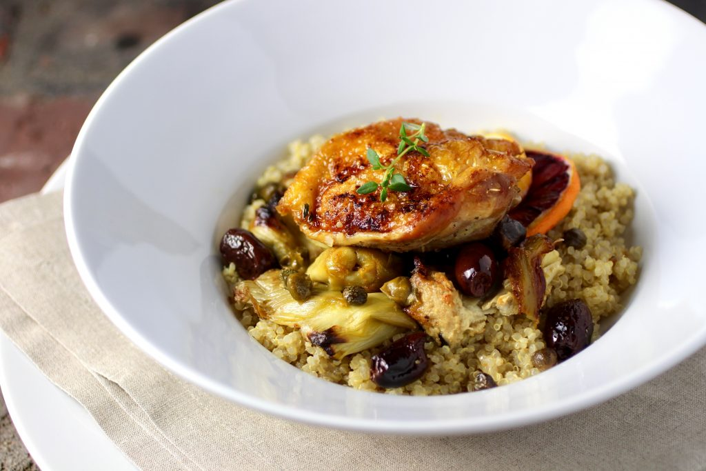 Chicken Thighs with Crispy Skin, Artichoke, Kalamata Olives, Winter Citrus