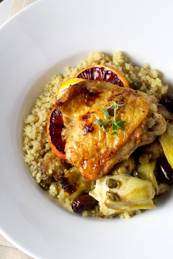 Chicken with Winter Citrus, Artichoke Hearts, Kalamata Olives, Capers, Herbs