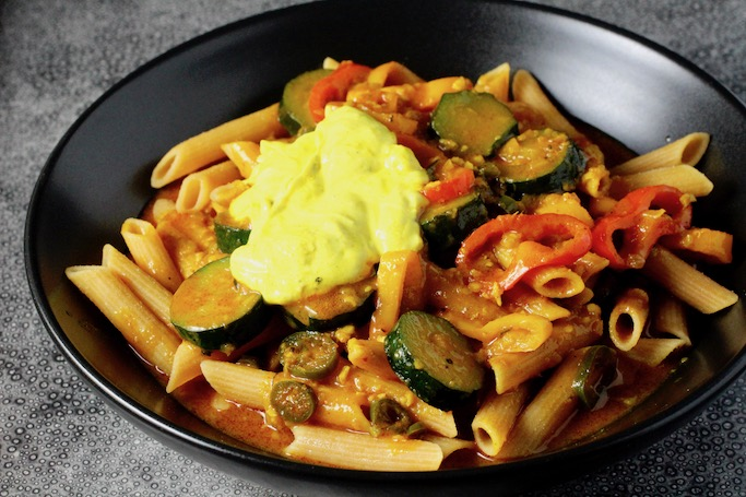 Red Lentil Penne, Red Coconut Curry #glutenfree