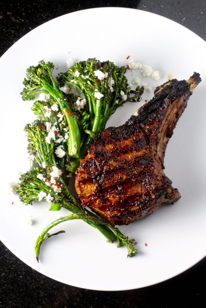 Grilled Veal Rib Chops & Baby Broccoli