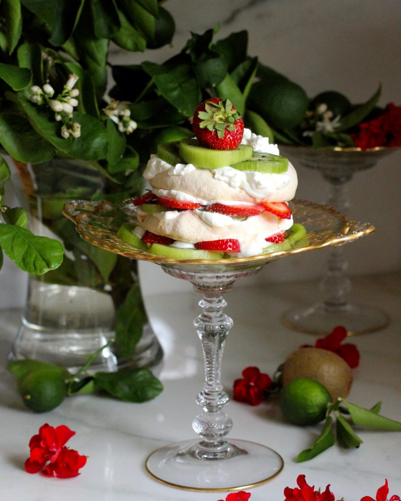 Kiwi Strawberry Pavlova, Lime Coconut Yogurt Whipped Cream