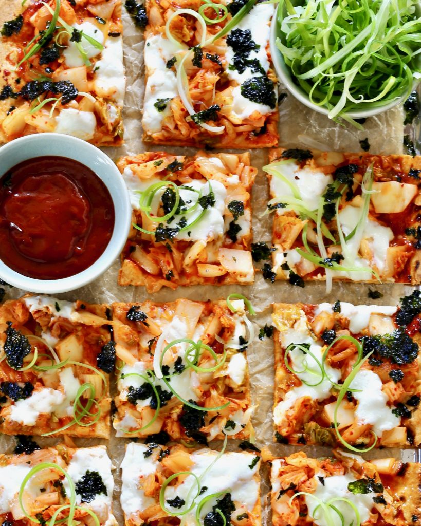 Kimchi Flatbread with Fresh Mozzarella - Gochujang Sauce, Scallion Curls, Roasted Seaweed