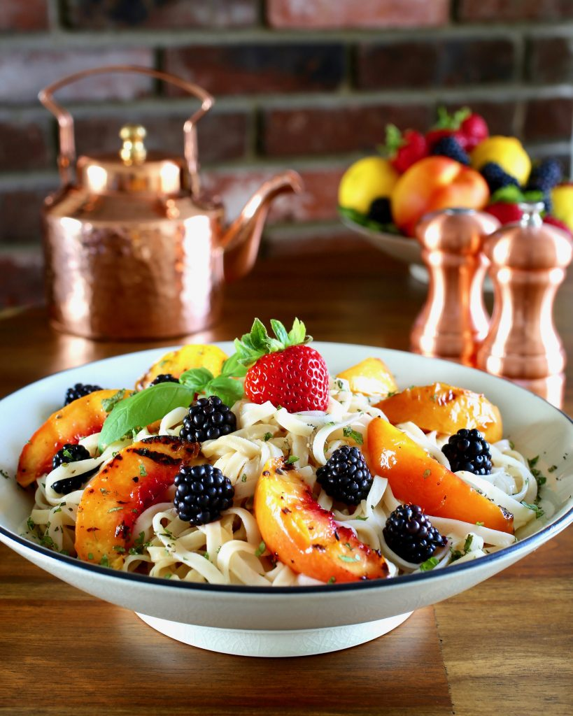 Top 8 Allergen-Free Rice Noodles Lemon Ginger Sunflower Seed Sauce Grilled Nectarines, Fresh Berries, Mint and Basil
