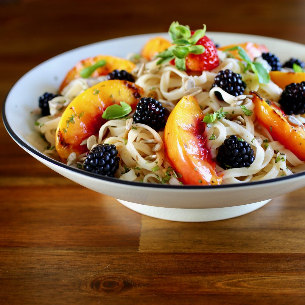 Rice Noodles with Lemon Ginger Sunflower Seed Sauce Grilled Nectarines, Fresh Berries, Mint and Basil