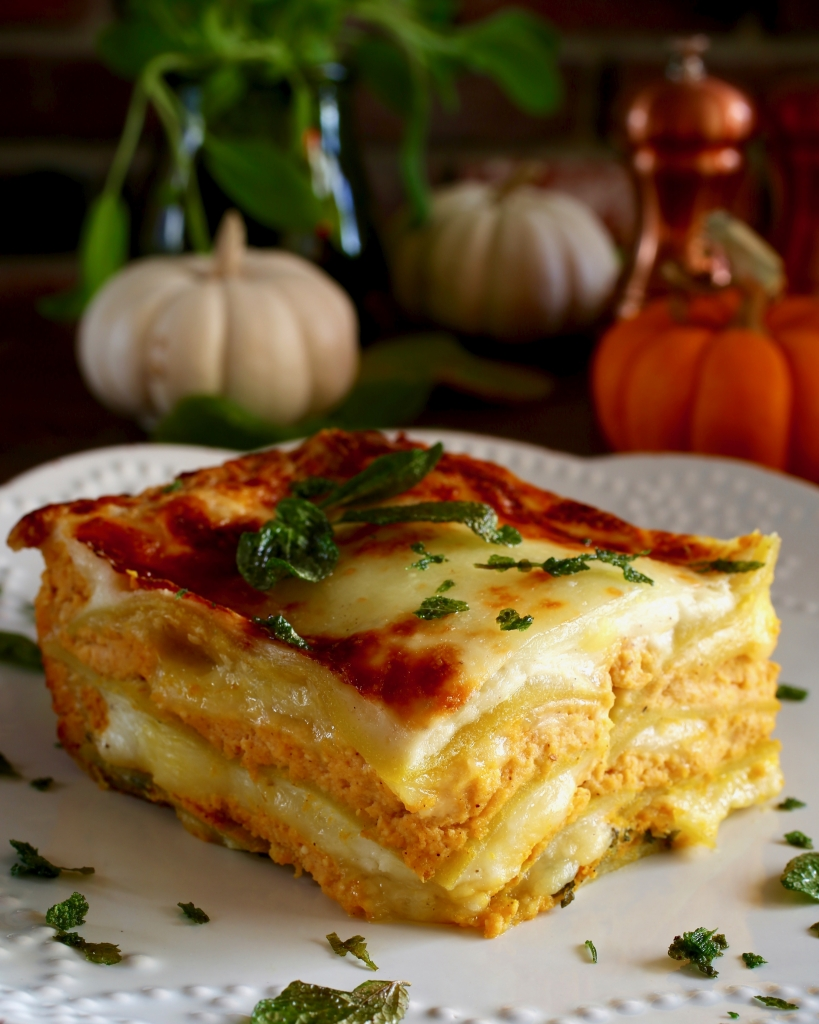 Pumpkin Ricotta Lasagne with Fried Sage #glutenfree