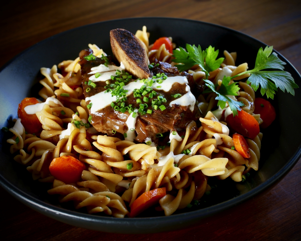 Braised Short Ribs over Chickpea Fusilli #glutenfree