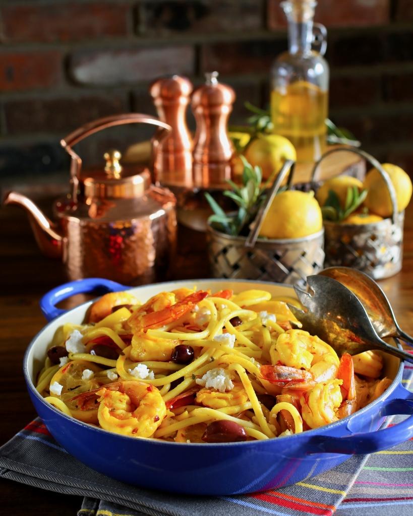 Saffron Lemon Shrimp with Bucatini