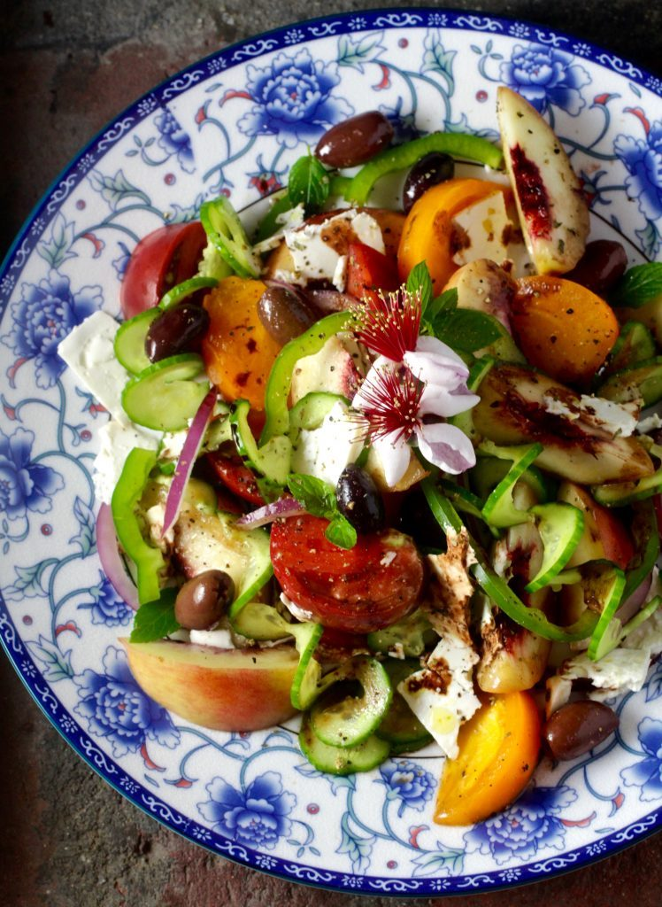 Classic Greek Salad with Peaches
