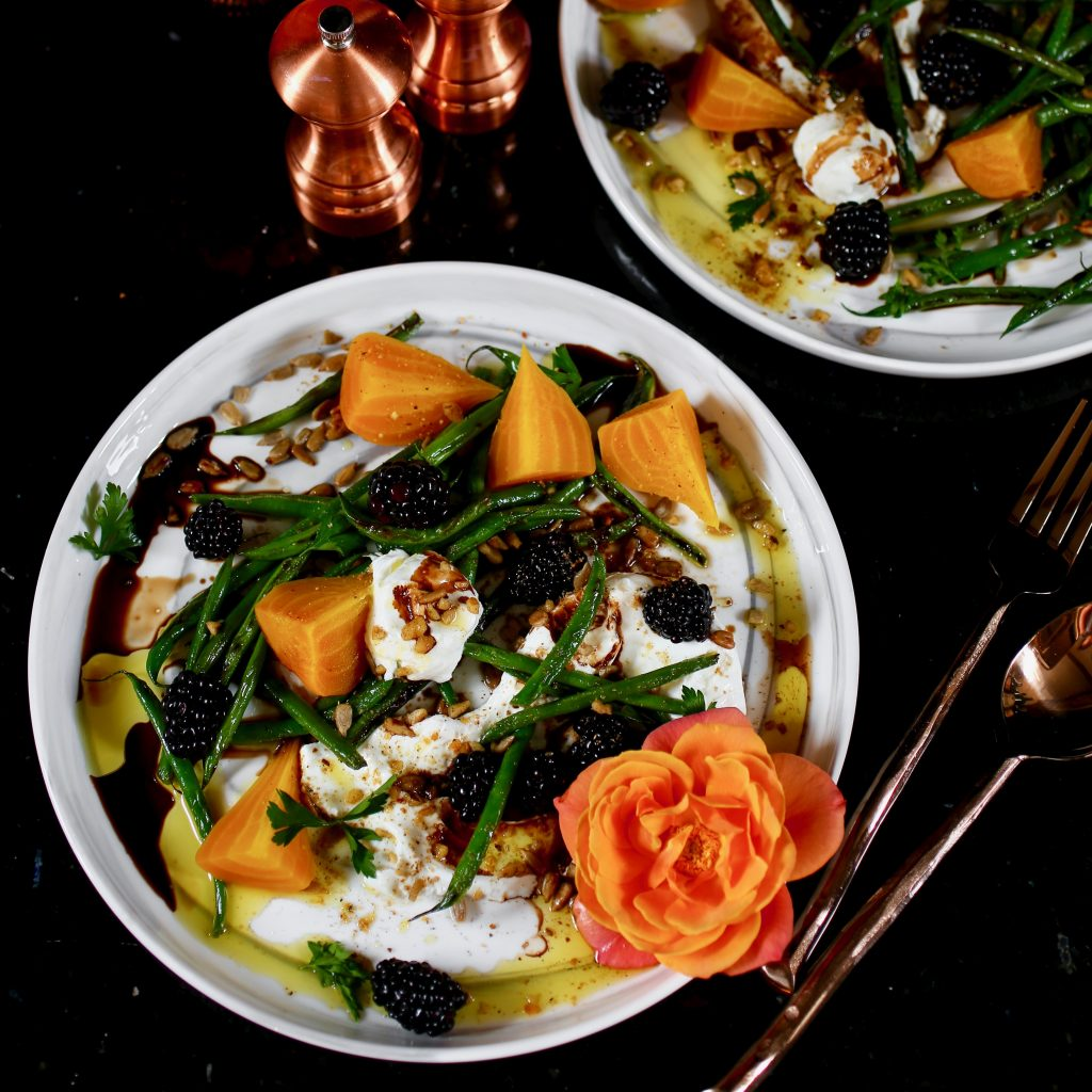 Golden Beets, Blistered Haricots Verts,, Marinated Blackberries
