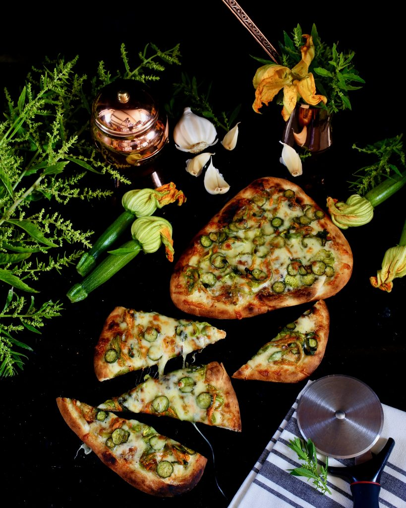 Squash Blossom Flatbread Pizza