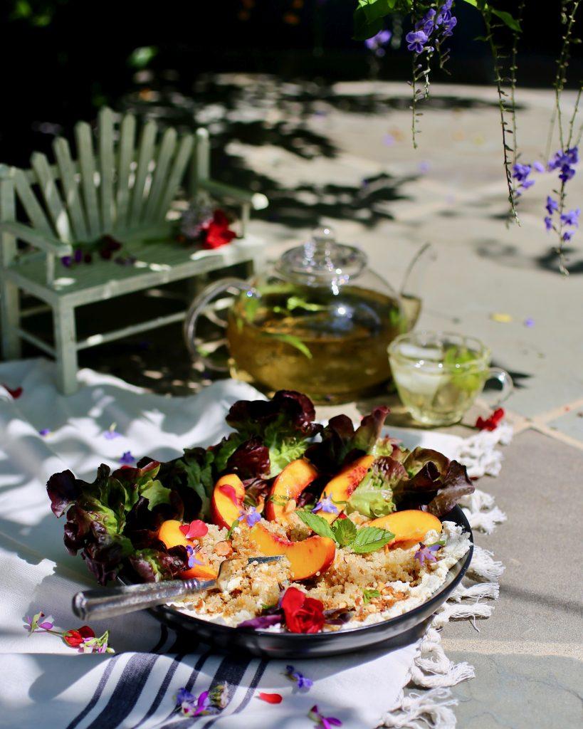 Peach, Quinoa, and Almond Milk Ricotta Salad/Grain Bowl