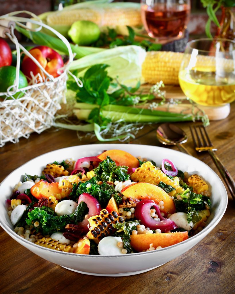 Summer Salad: Israeli Couscous, Wilted Kale, Grilled Corn, Nectarine, Pickled Red Onion, Mozzarella, Toasted Pecans