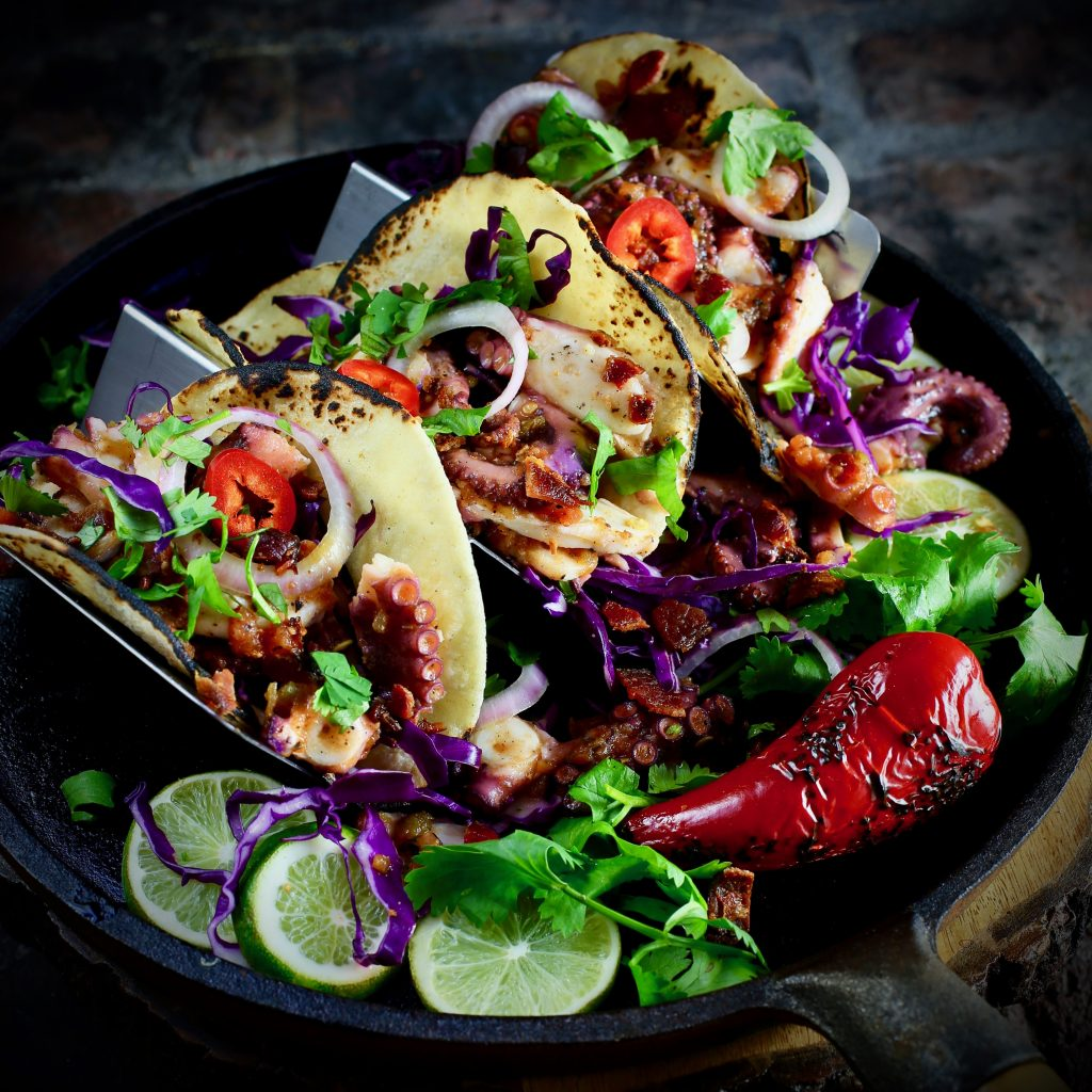 Octopus Tacos with Bacon