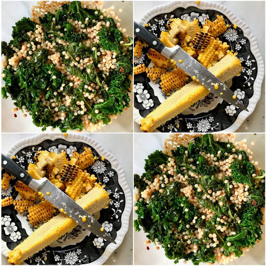 Israeli Couscous & Kale / Grilled Corn