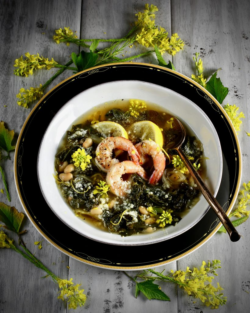 Mustard Greens Soup with Foraged Mustard Flowers