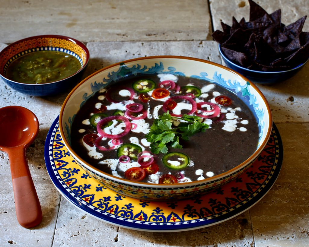 Black Bean Soup with Salsa Verde