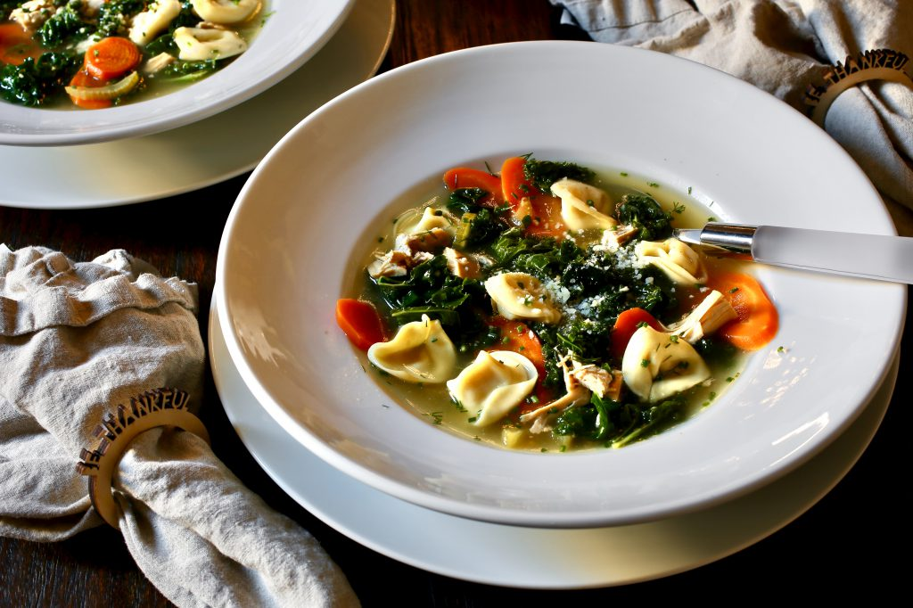 Turkey Soup with Tortellini and Kale