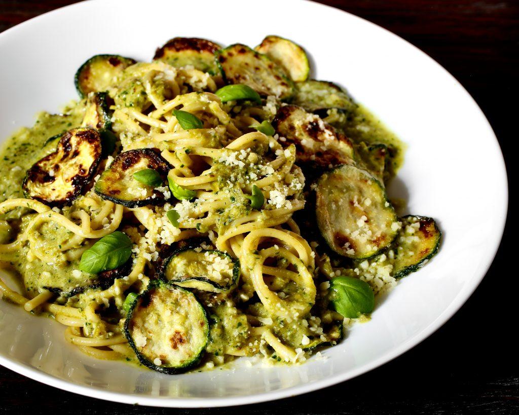 Spaghetti with Zucchini and Shishito Pesto Inspired by Bobby Flay