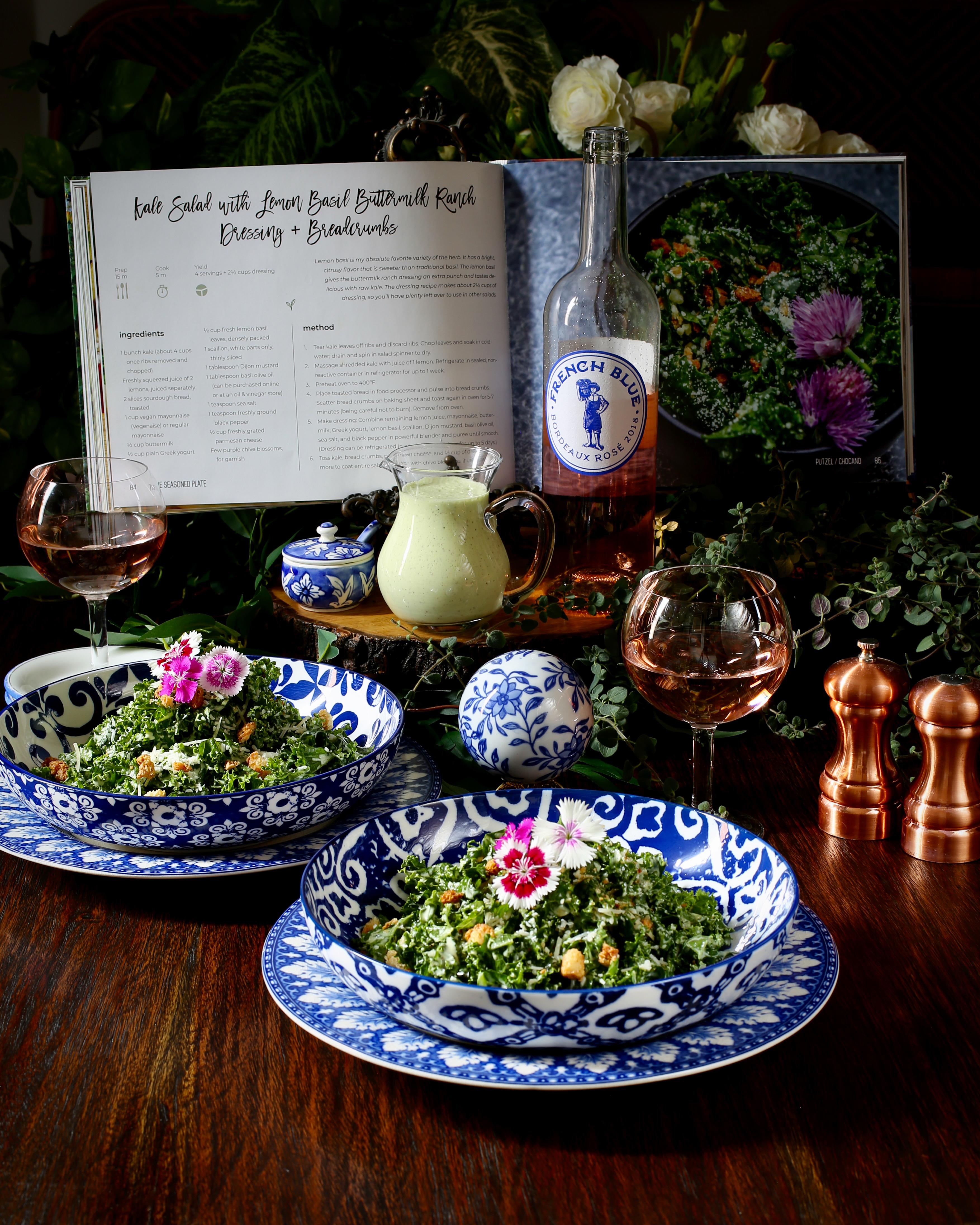 Kale Salad with Lemon Basil Buttermilk Ranch